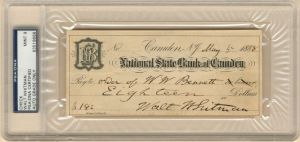 Walt Whitman signed check - SOLD