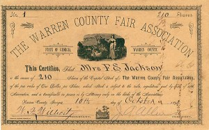 Warren County Fair Association - Stock Certificate