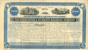 Washington & St. Mary's Railroad Company $1000 Bond
