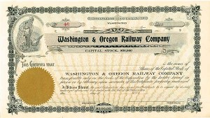 Washington & Oregon Railway - Stock Certificate