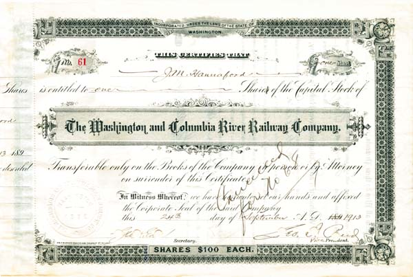 Washington and Columbia River Railway Company - Stock Certificate