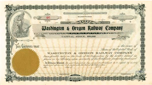 Washington and Oregon Railway - Stock Certificate