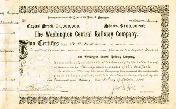 Washington Central Railway Company - Stock Certificate