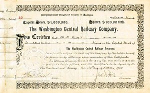Washington Central Railway Company - Stock Certificate