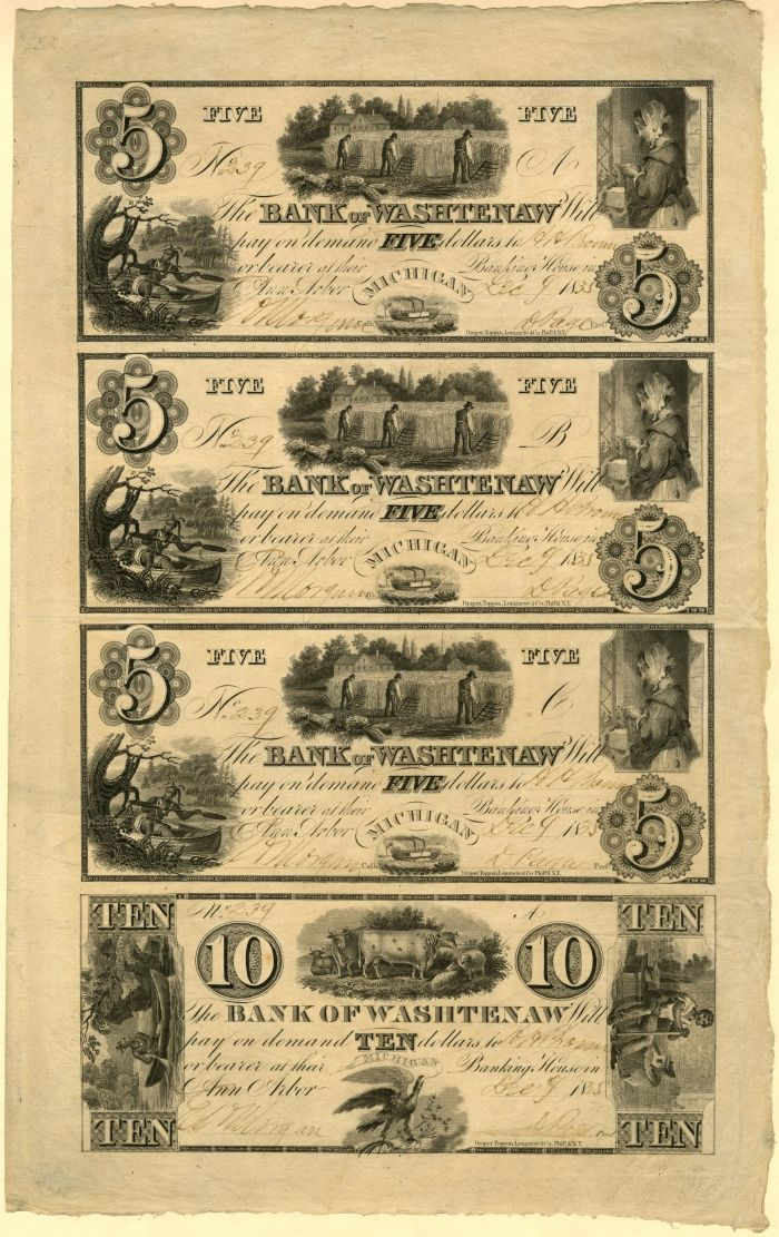 Millers Bank of Washtenaw - Uncut Obsolete Sheet - Broken Bank Notes