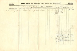 Way Bill from Boston and Lowell to Keene and Brattleborough
