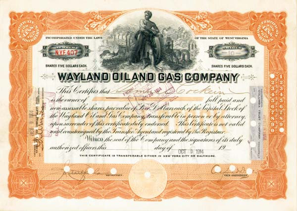 Wayland Oil and Gas Company - Stock Certificate
