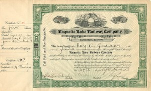 Raquette Lake Railway Company signed by Wm. S. Webb