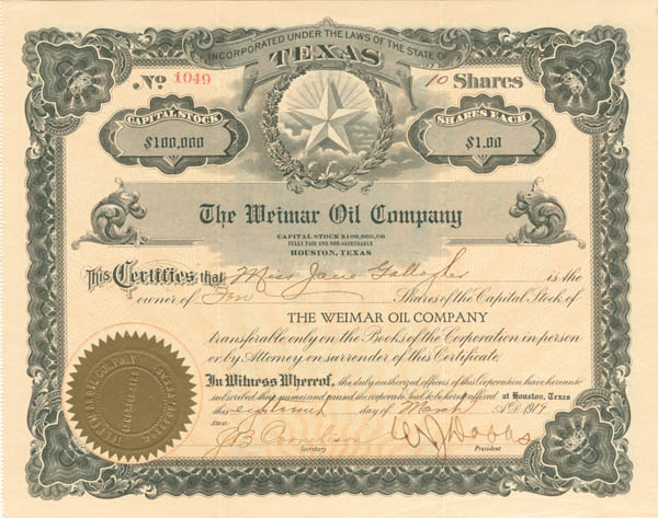 Weimar Oil Co - Stock Certificate - SOLD