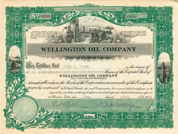 Wellington Oil Company - Stock Certificate