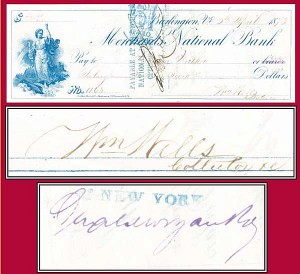 General William Wells & J. Pierpont Morgan both sign - Check