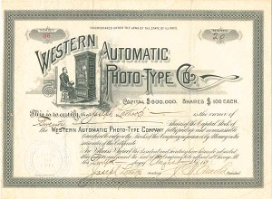 Western Automatic Photo-Type Co. - SOLD