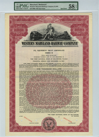Western Maryland Railway Company $1000 Bond
