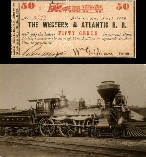 Western & Atlantic Railroad Note with Postcard