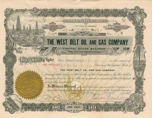 West Belt Oil and Gas Company - Stock Certificate