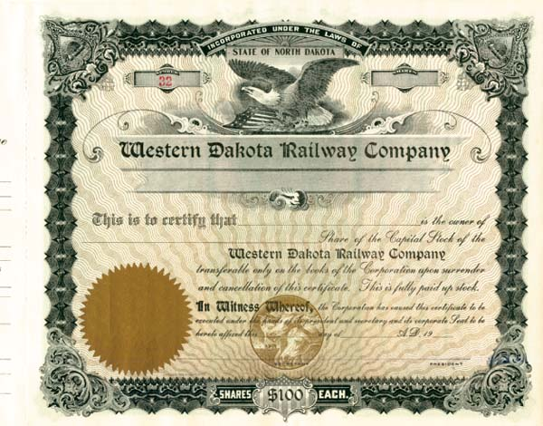 Western Dakota Railway - Stock Certificate