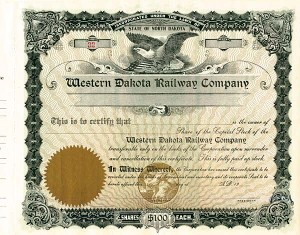 Western Dakota Railway - Stock Certificate