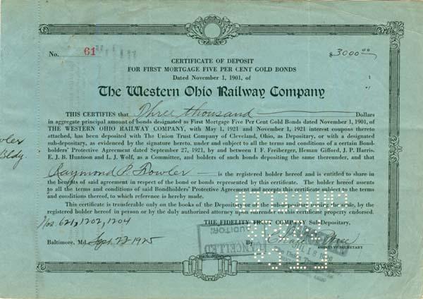 Western Ohio Railway - Bond