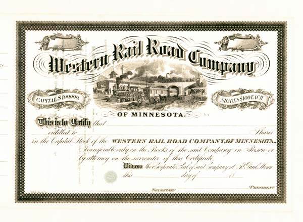 Western Railroad Company of Minnesota - Stock Certificate