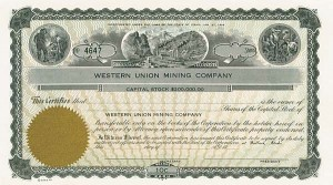 Western Union Mining Company - Stock Certificate