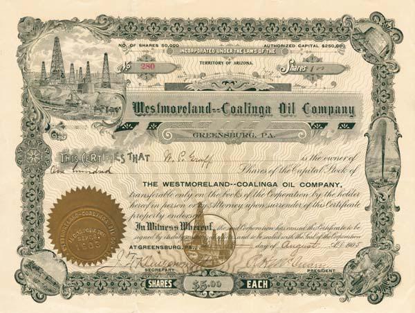 Westmoreland-Coalinga Oil Company - Stock Certificate