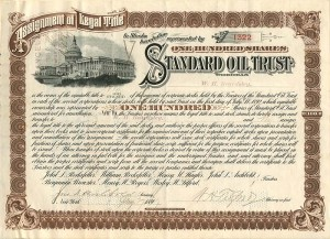 Standard Oil Trust signed by W.H. Beardsley, Archbold, and Tilford