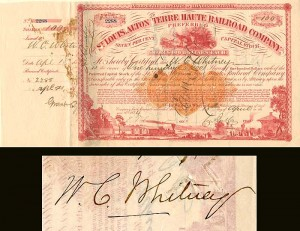 Issued to W.C. Whitney and signed by Charles Butler
