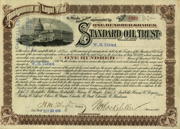 Standard Oil Trust Stock - Issued to W.H. Tilford