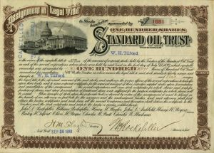 Standard Oil Trust Stock issued to and signed by W.H. Tilford as well as signed by H. M. Flagler and William Rockefeller