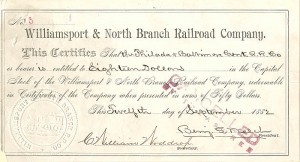 Williamsport & North Branch Railroad Company - SOLD
