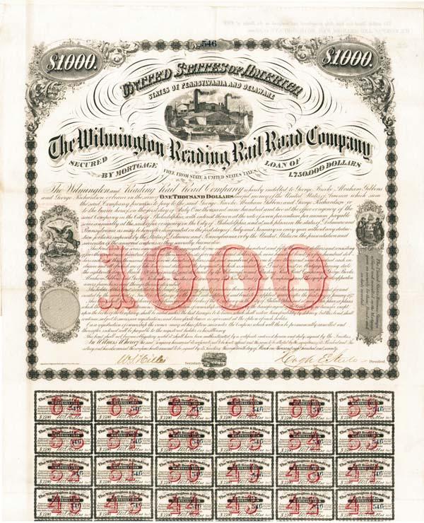 Wilmington & Reading Railroad - Bond