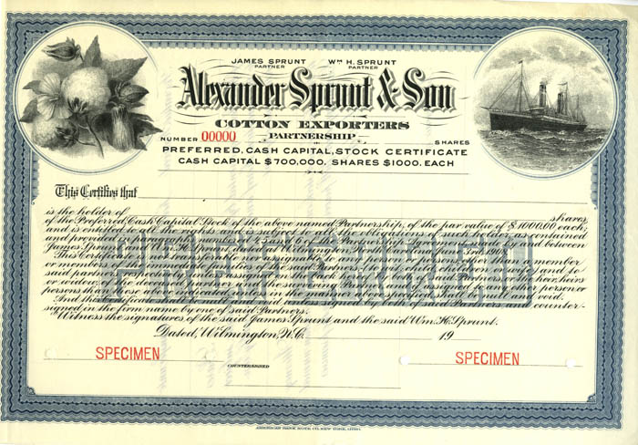 Alexander Sprout & Son - Cotton Exporters