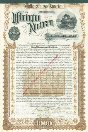 Wilmington and Northern Railroad Co. $1,000 Gold Bond signed by Henry Algernon du Pont