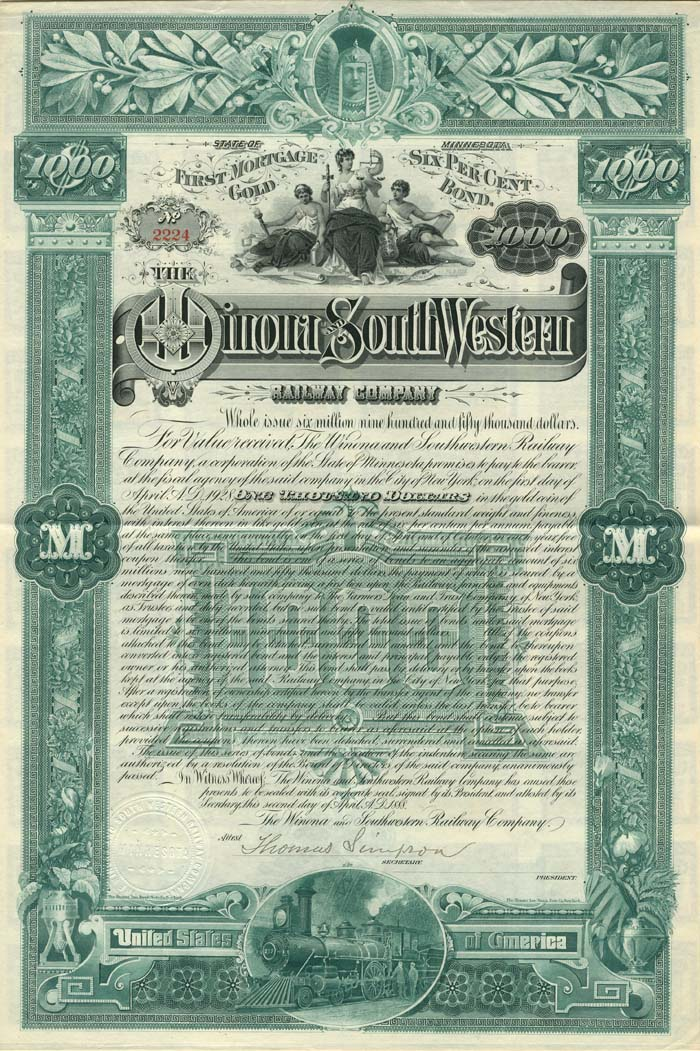 Winona and South Western Railway Company - SOLD