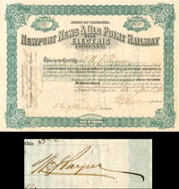 Newport News & Old Point Railway and Electric Company signed by W.J. Payne