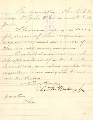 Wm. McKinley signed Letter