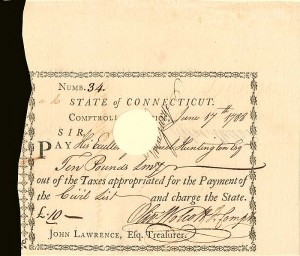 Issued to Samuel Huntington and signed by Oliver Wolcott Jr.  State of Connecticut Pay Order