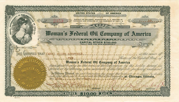 Woman's Federal Oil Company of America - Stock Certificate