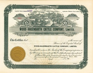 Wood-Hagenbarth Cattle Company, Limited - Stock Certificate