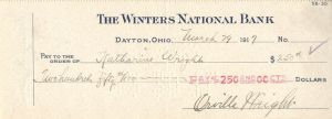 Orville Wright signed Check