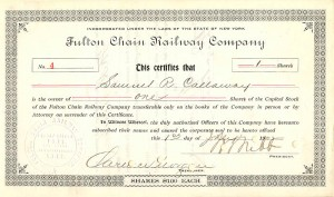 Fulton Chain Railway Company signed by Wm. Seward Webb