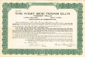 West Side Tennis Club - SOLD