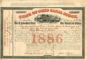 William W. Astor signs State of Ohio Canal Stock - SOLD