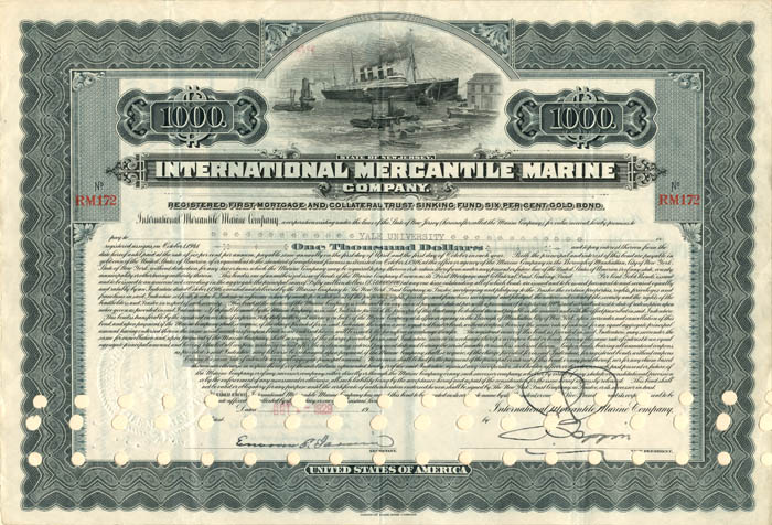 International Mercantile Marine Issued to Yale University